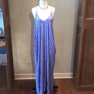Elan chambray stripe beach maxi dress
